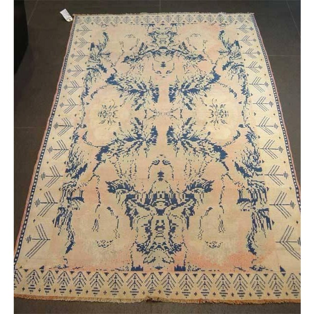 Early 20th Century Antique Hand Knotted Pink and Blue Agrarian Rug 4′ × 6′8″ For Sale - Image 4 of 7
