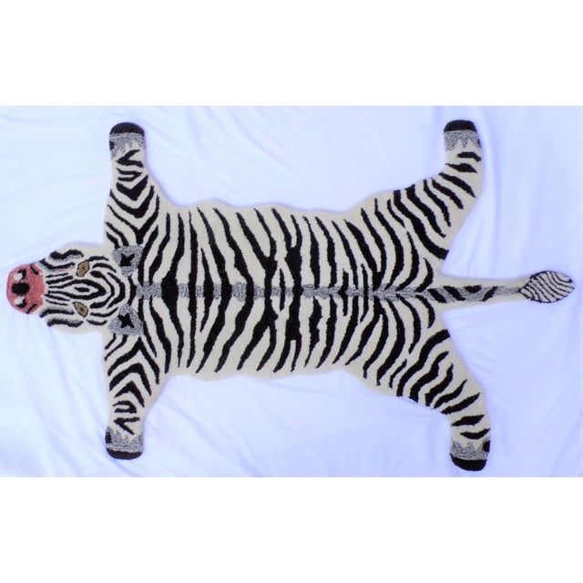 1990s Vintage Zebra Style Persian Rug - 3x5 Feet For Sale In Houston - Image 6 of 8