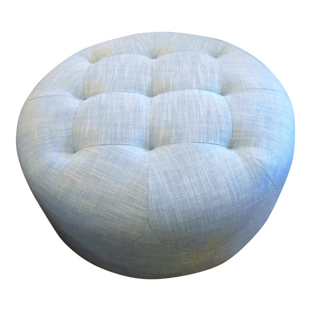 Image of Round Ice Aqua Ottoman, Light Blue Diamond Tufting