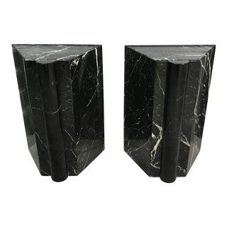 1980s Sculptural Black Marble Pedestals - a Pair For Sale