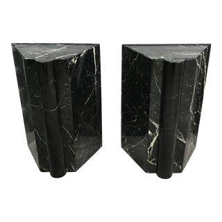 1980s Sculptural Nero Marquina Marble Pedestals - a Pair For Sale