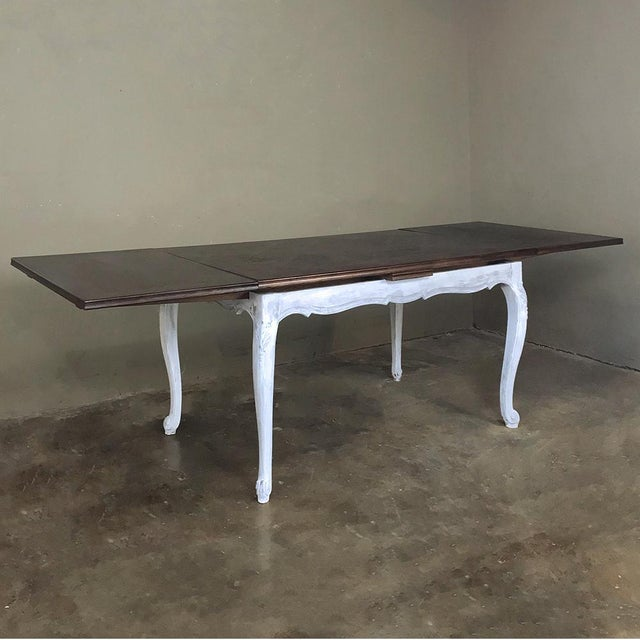 Antique Country French Draw Leaf Painted/Stained Dining Table For Sale - Image 4 of 12
