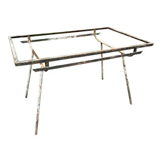 1940s Art Deco Modernist Outdoor Iron Table Frame For Sale