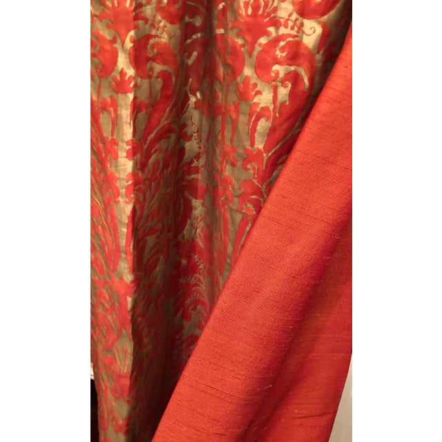 Gold Pair of Genuine Fortuny Gold & Orange-Red Curtains Drapes W Silk Verso For Sale - Image 7 of 8