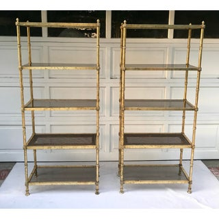 1970s Vintage Maison Jansen Gold Regency Etagere Preview