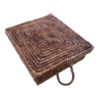 Vintage Square Basket With Lid For Sale