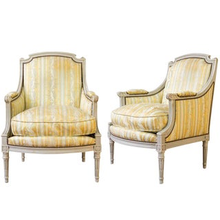 Pair of French Louis XVI Style Armchairs For Sale