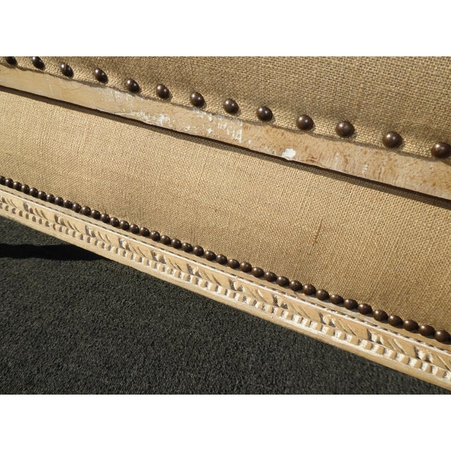 Tan French Provincial Burlap & Carved Wood Settee For Sale - Image 8 of 10