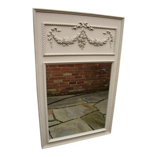 French Style Decorative Painted Trumeau Wall Mirror For Sale
