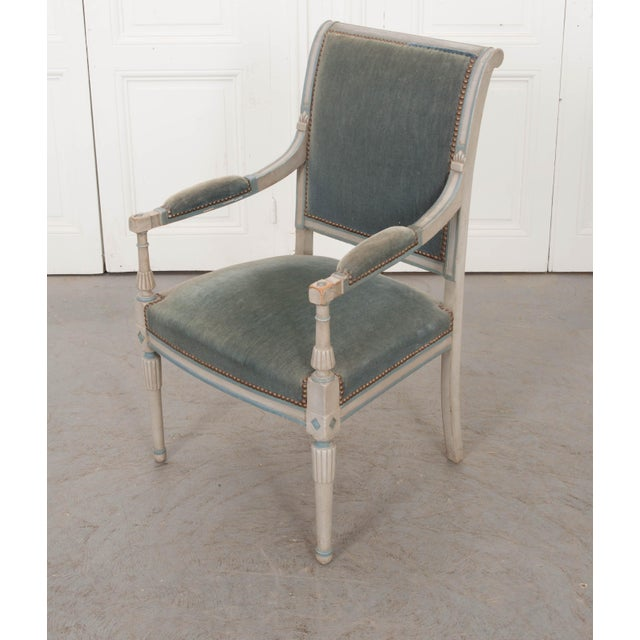19th Century French 19th Century Second Empire Painted Fauteuil For Sale - Image 5 of 13