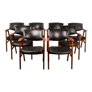 1960s Danish Modern Erik Kirkegaard Solid Teak and Leather Armchairs - Set of 8 For Sale
