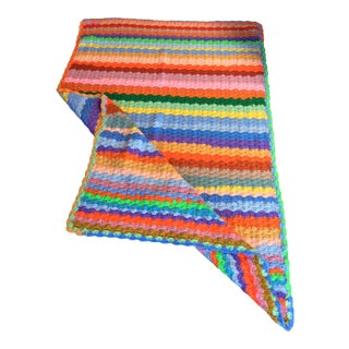 1970s Colorful Knit Throw For Sale