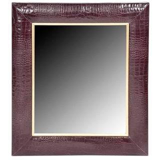 Bordeaux Classic Crocodile Leather Framed Mirror For Sale