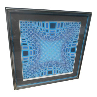 "Abstract Optical Illusion Silk Screen ""Rising Dome"" by Victor Vasarely For Sale"