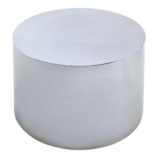 Modern Paul Mayen for Habitat International Polished Aluminum Drum Coffee Table Base For Sale