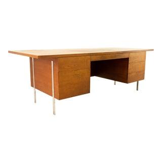 Harvey Probber Mid Century Walnut and Chrome Executive Desk For Sale