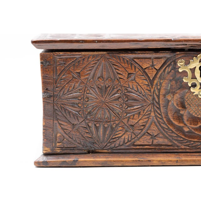 A 17th Century Carved Oak Box With Side Drawer Dated 1655. For Sale - Image 10 of 13