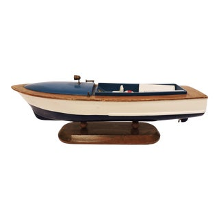 Blue Wooden Model Pleasure Boat