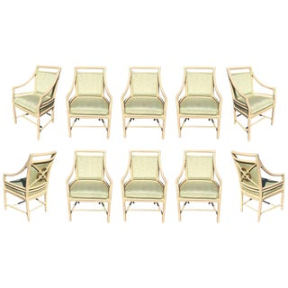 """Leather Wrapped """"Target Back"""" Lounge Chairs by McGuire, Set of Ten"""