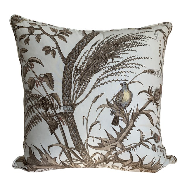 Brunschwig & Fils Bird and Thistle Cotton Print Pillow For Sale