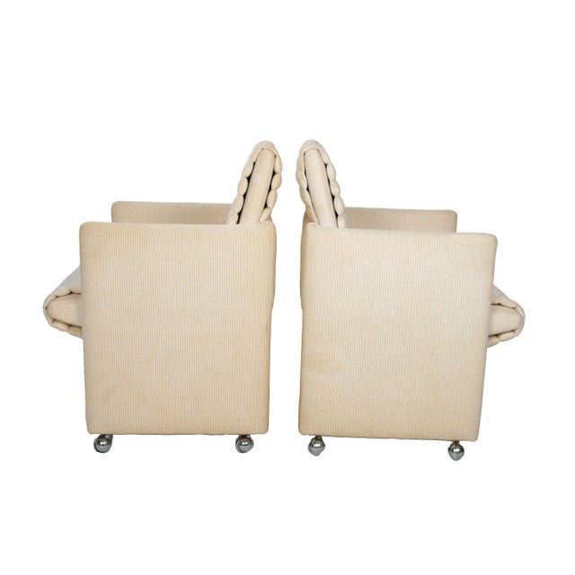 Hollywood Regency Milo Baughman Armchairs on Casters - Pair For Sale - Image 3 of 7