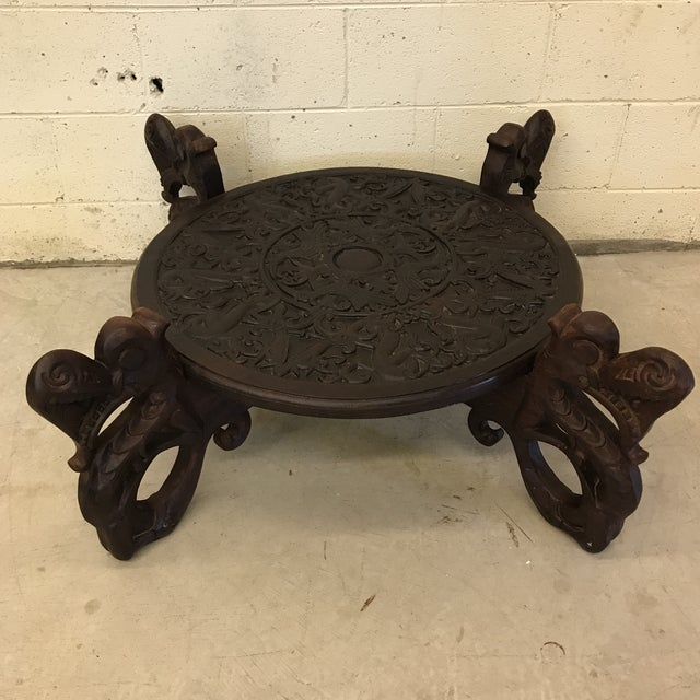 Boho Chic Carved Wood Dragon Head Coffee Table For Sale - Image 4 of 11