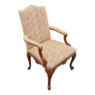 Antique French Oversize Louis XV Carved Mahogany Upholstered Armchair For Sale