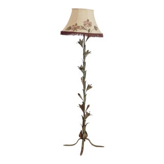 Vintage Shabby Chic Floral Floor Lamp For Sale
