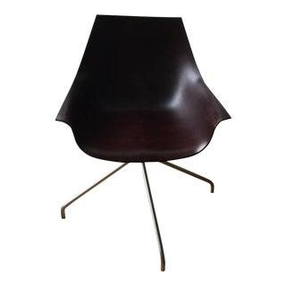 Italian Trestle-Based Oak Dark Walnut Bentwood Swivel Chair