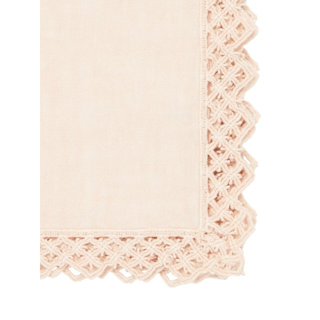 Modern Once Milano Linen Napkin With Macramé in Cream For Sale - Image 3 of 7