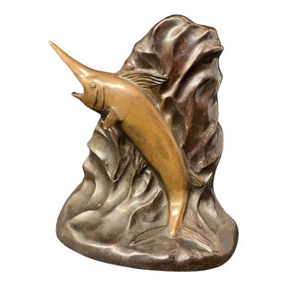 Vintage 1950s Bronze Finish Marlin Bookend For Sale