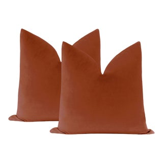 "22"" Rust Velvet Pillows - a Pair For Sale"