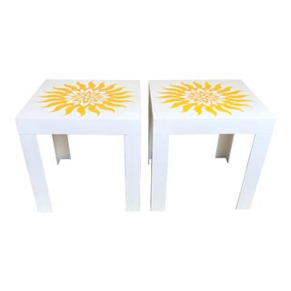 1970s White Yellow Sun Flower Plastic Parsons Tables- a Pair For Sale