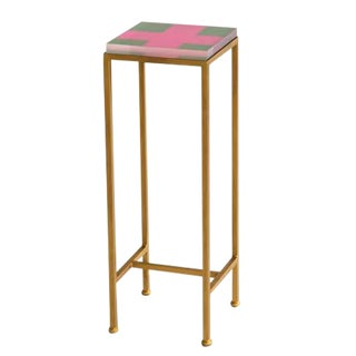 Contemporary Ellsworth Acrylic Drinks Table – Base: Gold, Top: Cross Hunter/Peony For Sale