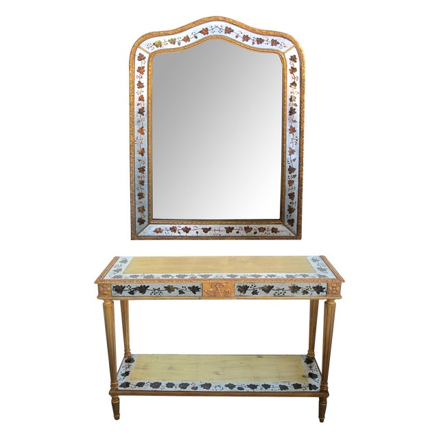French Maison Jansen 1940's Eglomise Console Table and Mirror For Sale