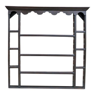 Antique English Oak Large 19th Century Jacobean Plate Rack Hanging Wall Shelf Shelves For Sale