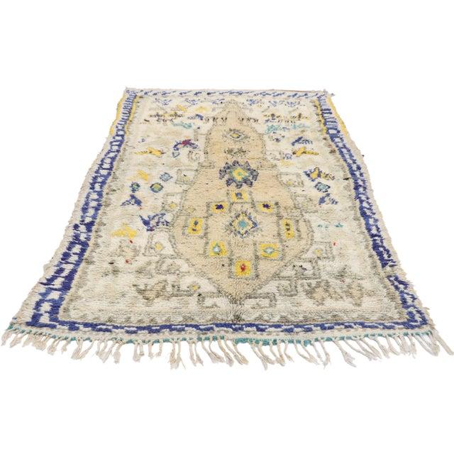 Textile Vintage Berber Moroccan Azilal Rug- 3′6″ × 6′2″ For Sale - Image 7 of 10