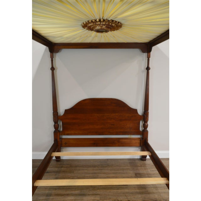 1990s Harden Cherry Queen Size Poster Bed With Custom Canopy For Sale - Image 5 of 13