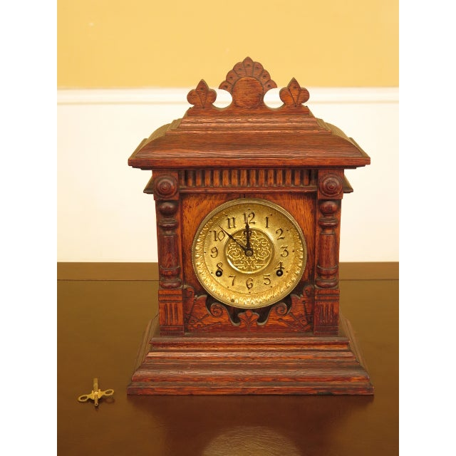 Antique Victorian Oak Mantle Clock For Sale - Image 10 of 10