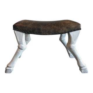 Goat Leg Leather Upholstered Stool