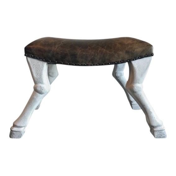 Goat Leg Leather Upholstered Stool - Image 1 of 7