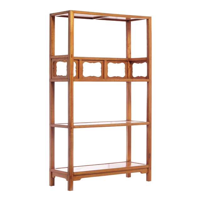 Simple Antique Chinese Bookcase with Three Shelves and Decorative Carved Panels. Made of Yumu wood, this unique design is...