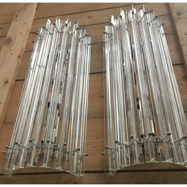 Metal Vintage Contemporay Style Murano Glass Triedo Wall Sconces - a Pair For Sale - Image 7 of 12