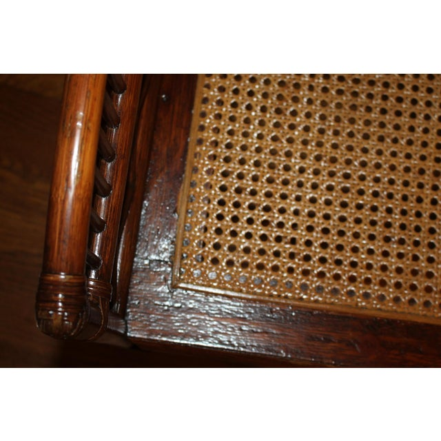 Brown Vintage Mid Century Bamboo Rattan Pavilion Brighton Chinoiserie Chippendale Settee For Sale - Image 8 of 13