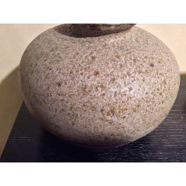 Contemporary Beautiful Textured and Glazed Pottery Vase Monogrammed Gp For Sale - Image 3 of 6