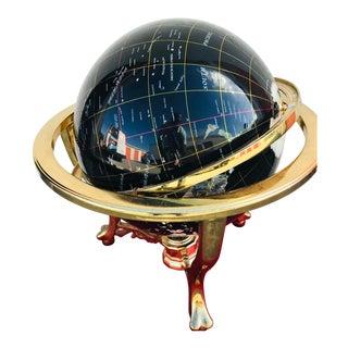 Mid-Century Round Brass Globe For Sale