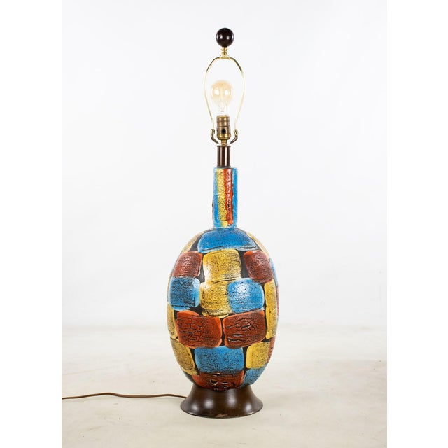 Burnt Orange Mid-Century Modern Italian Volcanic Glazed Pottery Ceramic Table Lamps - Set of 2 For Sale - Image 8 of 13