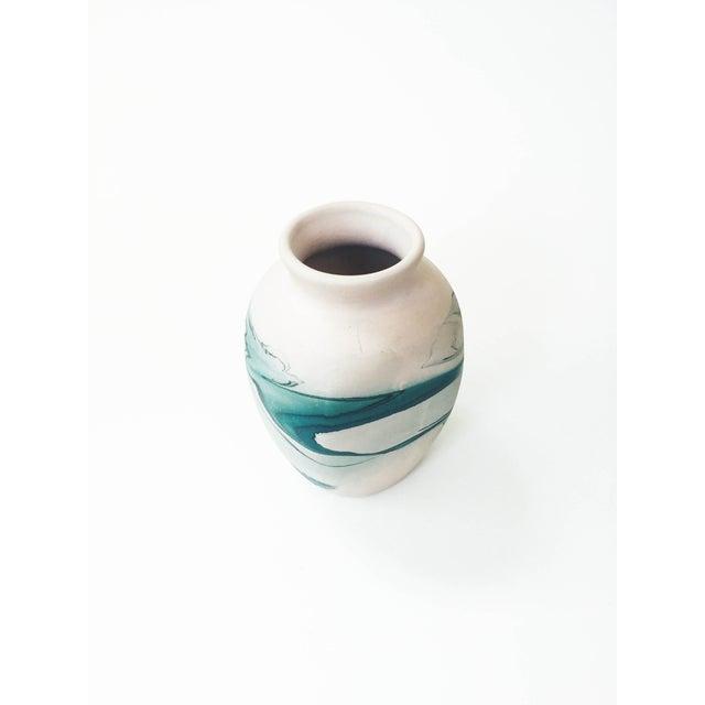 Vintage Nemadji Teal Pottery Vase - Image 3 of 5