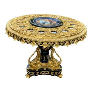 French Louis XVI Bronze and Porcelain Center Table For Sale