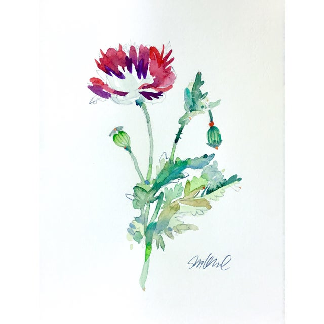 Contemporary Poppy Dragon Original Watercolor Painting For Sale - Image 3 of 3